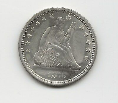 1876-CC Seated Liberty Quarter, cleaned