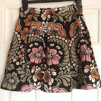 Retro style Flower Pattern Skirt, Lined, Size 8, New