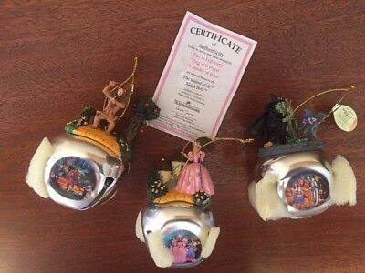 Wizard of Oz, Set of 3 Sleigh Bell Ornaments With Tags and COA by Ashton Drake