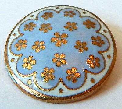 FRENCH SKY BLUE & WHITE CHAMPLEVE ENAMEL BUTTON w/SWEET FORGET-ME-NOT POSIES