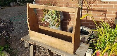 very old primitive home made carpenters tool carry box carrier tote