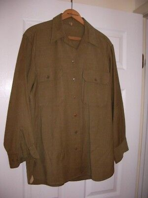 WWII vintage US Army flannel OD uniform shirt w/ gas flap gas-proof features LG