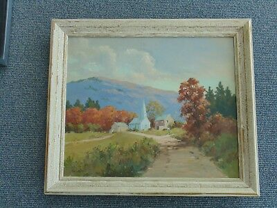 Vintage Thomas Earle Laughlin Landscape Oil Painting Listed PA Maine Artist T E
