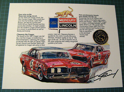 Vintage add of Bud Moore Cougar Team - With Dan Gurney autograph - SCCA Trans Am