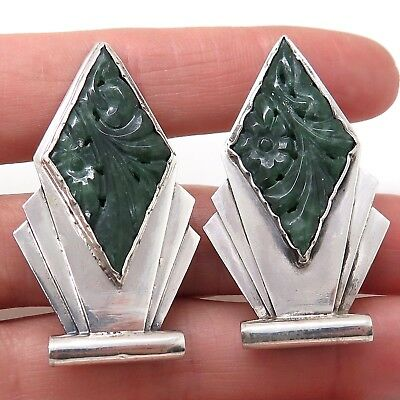 Victorian Antique Sterling Silver Jade Gemstone Carved Geometric Collar Clips