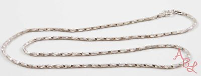 Sterling Silver Vintage 925 Diamond Cut Box Snake Chain Necklace 18'' 5g 743524