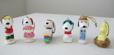 PEANUTS Snoopy Woodstock General Series Ceramic Ornament Set 6 Japan