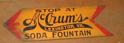 "VINTAGE/ANTIQUE WOOD SIGN / ""McCRUMS SODA FOUNTAIN - LEXINGTON, VA / 11-16A"