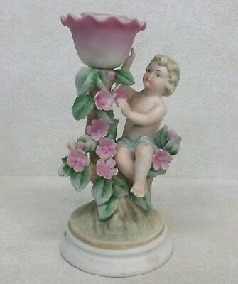 Vintage Porcelain Bisque Figural Candle Holder