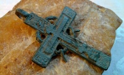 "RARE 18-19th CENTURY ""OLD BELIEVERS"" ORTHODOX ""SUN"" CROSS HOLY SPIRIT PSALM 68"
