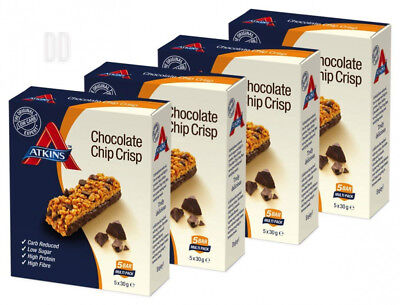 Atkins Chocolate Chip Crisp, Low Carb, High Protein Snack Bar (4 x 5 bars of...