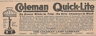 Vintage 1920 ad~ COLEMAN QUICK-LITE~ The Coleman Lamp Company