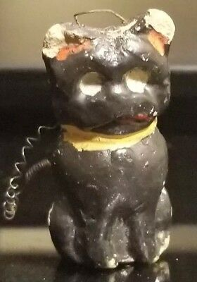 Antique Miniature  Halloween Composition* SPOOKY* Black Cat GERMANY WITH SPRING