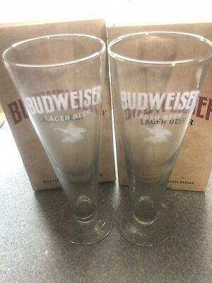 (2) NEW Budweiser Bud classic glasses. Party. Christmas. Lager Beer.