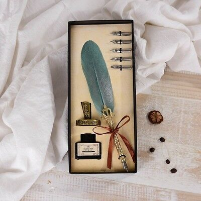 1Set English Calligraphy Feather Dip Pen Writing Ink Set Stationery Gift Box