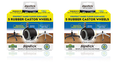 """SlipStick (2x Sets of 5) 2"""" Floor-Protecting Rubber Office Chair Caster Wheels"""