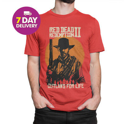 Red Dead Redemption 2 T-shirt RDR2 Men And Women Tee Red Cotton Full Size