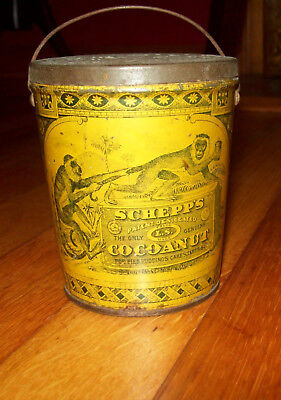 Rare!! Vintage Tin Schepp's Cocoanut Antique Old Can Coconut - Great Graphics!!