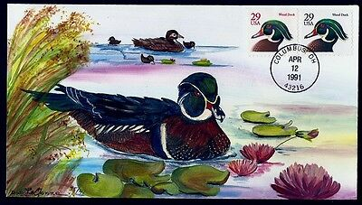 OLDE WELL Hand Painted : 1991 Wood Duck w/Both Stamp Varieties and Only 41 Made