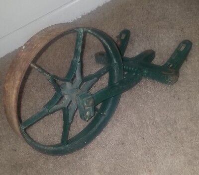 Vintage Planet Jr Cultivator Cast Iron Plow Wheel Green Paint Antique