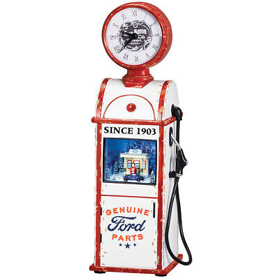 NEW Vintage Gas Pump Christmas Musical With Working Clock - Handpainted Resin