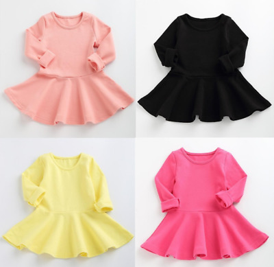 Toddler Kids Baby Girls Long Sleeve Dress Princess A-Line Short Winter Dress HOT