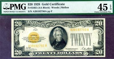 HGR FRIDAY 1928 $20 Gold Certificate ((WANTED Grade)) PMG XF-45EPQ(Looks AU)
