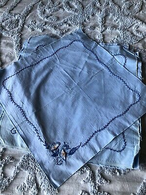 Vintage Lot Of 10 hand embroiderded blue Quilt blocks