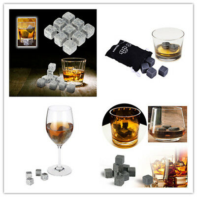 9Pc Whiskey Ice Stone Cooler Cube Scotch Soapstone Glacier Rock for Drink Wine W