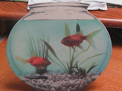"""1988 Blue Q Cardboard Goldfish Bowl Standing 9"""" Picture  Colorful and Pretty!"""