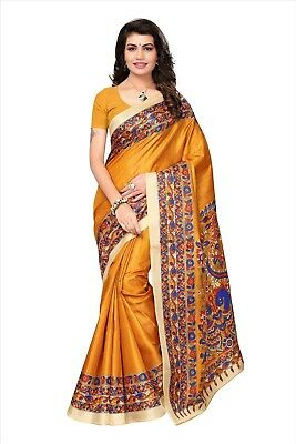 Indian yellow khadi jute silk new daily wear floral print saree with blouse