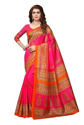 Indian Designer pink Bhagalpuri cotton New daily floral print saree with blouse