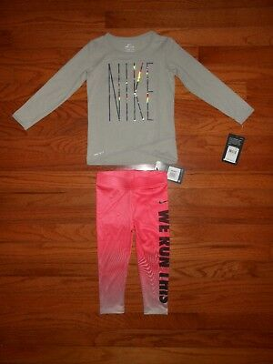 f47e6ab09e96a NWT NIKE TODDLER Girls 2pc grey shirt and legging, Size 2T & 3T ...