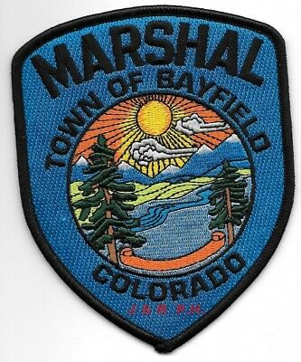 """Town of Bayfield Marshal, Colorado (4"""" x 5"""" size) shoulder police patch (fire)"""