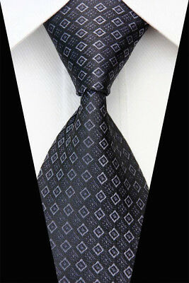 Black Gray  Plaid Man Classic JACQUARD Woven Necktie Tie Casual New