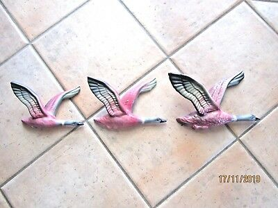 Collectable Vintage Set Of Three Pink Flying Ducks Wall Pockets 1950's  GORGEOUS