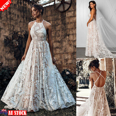Women's Long Lace Formal Wedding Cocktail Party Ball Gown Bridesmaid Maxi Dress