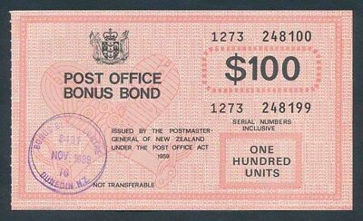 "New Zealand: 1989 $100 ""RARE P.O. BONUS BOND"". Cashable @ $100"
