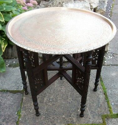 Antique Anglo/indian   Carved  Inlaid Folding Side Table With Brass  Top