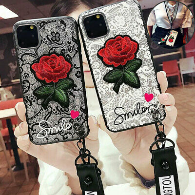 Iphone 11 Pro MAX XS Max 7 8 Plus XR Shockproof Rose Cute Girls Phone Cover Case