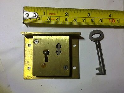 drawer lock, 63 mm, brass, 4 lever, reclaimed (HD3)