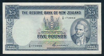 "New Zealand: 1955 £5 Wilson PREFIX NO/LETTER ""6/W"". Pick 160b GVF - Cat VF $160"