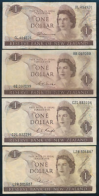"New Zealand: 1967-77 $1 QEII Portrait ""COMPLETE SET 4 SIGS"". P163a-163d F to VF"