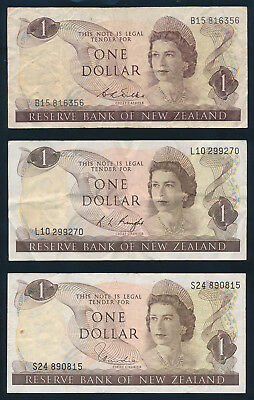 "New Zealand: 1968-77 $1 Wilks Knight Hardie QEII ""SET 3 SIGS"". Pick 163b-d GF+"