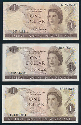 "New Zealand: 1968-77 $1 Wilks Knight Hardie QEII ""SET 3 SIGS"". P163b-d F to VF"