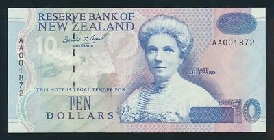"New Zealand: 1993 $10 Brash Type III SCARCE 1ST PREFIX ""AA"". P178a UNC Cat $70"