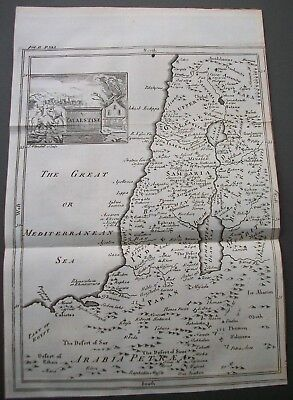Antique Map Palestine 270 Year Old 1747 Original Copper Plate Engraving Blundell
