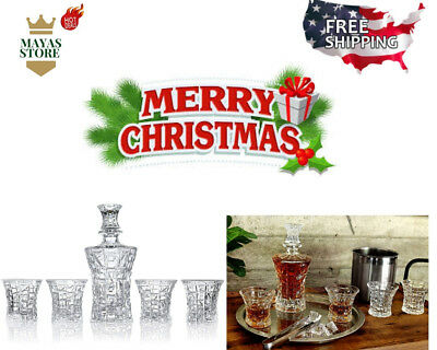 Under 50$ Xmas Gift Set of 4 Sophisticated Glasses For Whisky Rum Decanter Set