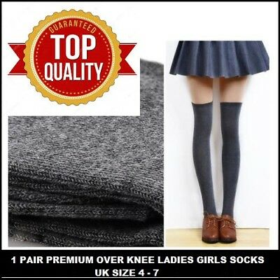 4  PAIRS Women Girl Ladies Over The Knee Thigh High Long Socks UK size 4-7 KMTGH