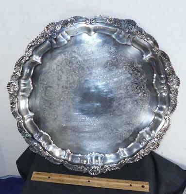 Large Poole Vintage Round Silverplate on Copper Footed Serving Tray Old English